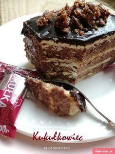 Kukułkowiec - Ciasto Kukułka bez pieczenia Cookie Desserts, No Bake Desserts, Delicious Desserts, Yummy Food, Food Cakes, Cupcake Cakes, Potica Bread Recipe, Sweet Recipes, Cake Recipes