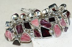 Rhodochrosite,Garnet Faceted,Tourmaline bracelet designed and created by Sizzling Silver. Please visit  www.sizzlingsilver.com. Product code: BR-8326