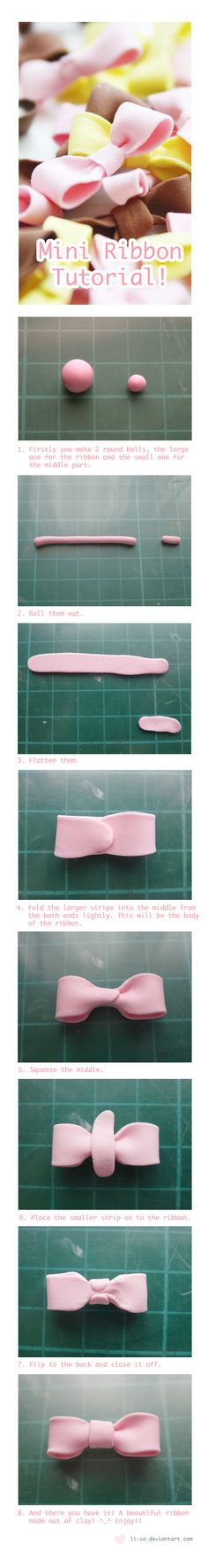 Sweet lil bow...Mini Ribbon Tutorial by li-sa.deviantart.com on @deviantART fimo/polymer clay