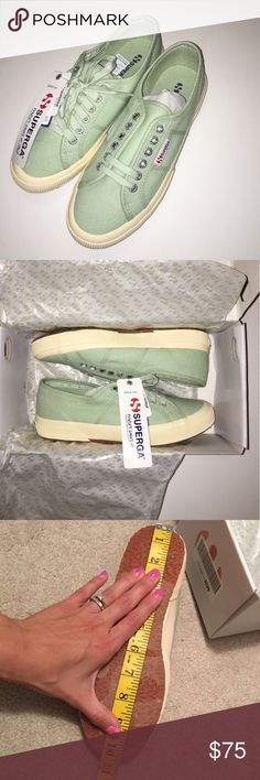 NWT Superga Women's NEW in box 📦Same day shipping (excluding Sun/holidays or orders placed after P.O. Closed) ❓Please ask any questions prior to buying. I want you to be 💯% Happy❣  Elevate your style with these chic shoes: dress casual with jeans or girly with a flirty skirt. Brand new in the original box with tags attached. These shoes are a beautiful soft green. Super comfy! They are just a bit heavier than what I was expecting and I prefer a lower profile shoe. Smoke/pet free home…