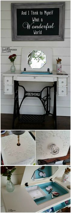 These amazing DIY makeup vanity table ideas and projects that will also be best alternative to modern and expensive market-bought makeup vanity tables!Sewing Machine Into Makeup Vanity