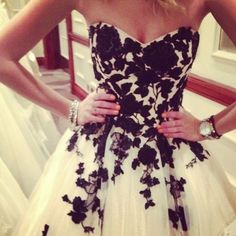 Black Applique on White Tulle Wedding Dress in a Classic Vintage Silhouette