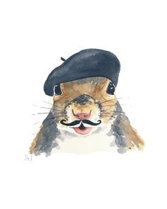 Squirrel Watercolour Original Painting - French Beret, Mustache, Squirrel Art, 8x10. $40.00, via Etsy.