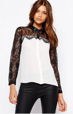 Black Lace in White Long Sleeve Blouse – Trendy Road