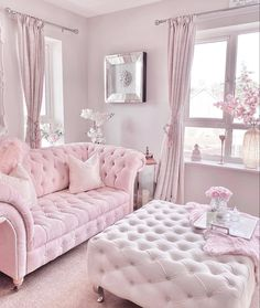 Pink Bedroom Decor, Rooms Home Decor, Home Office Decor, Shabby Chic Living Room, Home Living Room, Living Room Decor, Home Room Design, Living Room Designs, Lavender Living Rooms