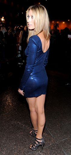 Natalie Zea sexy legs and booty in a mini dress and high heels