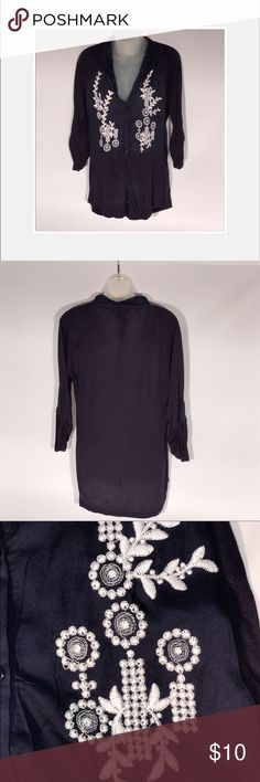 3/4 sleeve top Navy blue 3/4 sleeve top.  White stitching embellishments along neckline.  Great condition. Tops