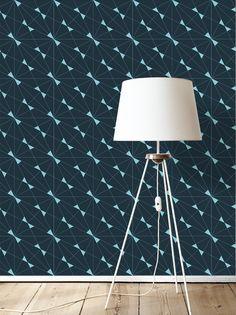papier peint géométrique CORA / Bleu foncé & clair