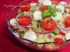 Az otthon ízei: Kuszkusz saláta Caprese Salad, Cobb Salad, Mozzarella, Potato Salad, Menu, Potatoes, Eggs, Yummy Food, Breakfast