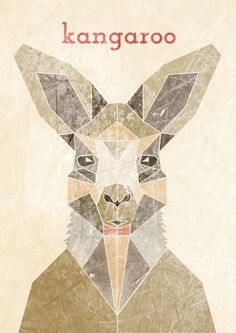 KANGAROO, Geometric illustration, Animal head  www.alicemacleansmith.com  Copyright 2014 Alice Maclean Smith
