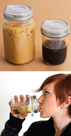 Mason Jar Travel Mug // with its clever adapting lid design, this product turns a jar into a handy travel mug!