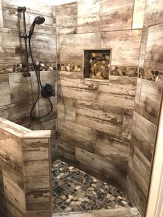 This beautiful rustic-modern shower combines our Brentwood Cream tile with Bora Wilderness Pebbles. #RusticBathrooms