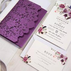 vivid shades of purple watercolor floral laser cut pocket wedding invitations EWWS202 as low as $2.69 |