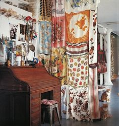 Sewn vintage scarves for curtain. Brilliantly beautiful. Dishfunctional Designs: How To Upcycle Thrift Shop Finds Into Trendy Home Decor