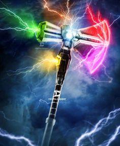 Stormbreaker, the hammer Thor with the Infinity Gems - Stormbreaker, o martelo de Thor com as Joias do Infinito Captain Marvel, Marvel Avengers, Marvel Comics, Marvel Heroes, Captain America, Comics Universe, Marvel Cinematic Universe, Batman Vs, Infinity Gems