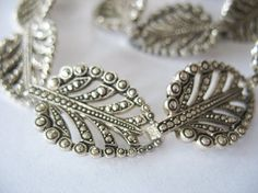 aquamarine and marcasite ring | Vintage Aluminum Jewelry Set Marcasite Leaf Design by tubbytabby, $89 ...