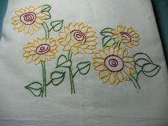 Sunflowers in the field. Hand embroidered flour sack kitchen  30 X 30 inch towel.