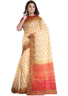 #cream #woven #bridal #kanjivaram #silk #saree #blouse #attractive #design #sareelove #new #arrivals #beautiful #indianwear #ootd #traditional #womenswear #online #shopping