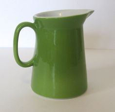 Vintage Shenango China creamer. FORM series apple green small pitcher. Made in 1963. Classic sleek Modern Mid Century lines. Like new by PickleladyVintage on Etsy