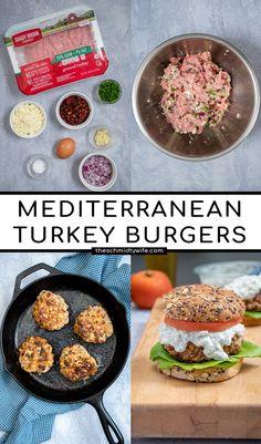 Healthy Sandwich Recipes, Healthy Sandwiches, Burger Recipes, Turkey Feta Burgers, Beef Burgers, Delicious Burgers, Delicious Dinner Recipes, Mediterranean Diet Recipes, Weeknight Meals