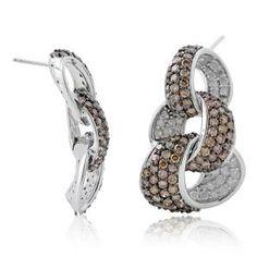 #Malakan #Jewelry - Platinum-Silver Treated Brown Diamond Drop Earrings 91726B1 #Earrings #Drop #Fashion