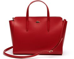 Chantaco Medium Satchel  Lacoste Chantaco Medium Satchel Pompeian Red - crafted in smooth Leather With A Subtle Sheen This Perfectly Sized Satchel Comes Complete With A Removeable Shoulder Strap. the Iconic Design is Finished With A Polished Golden Croc for A Flash Of Signature Style.
