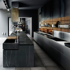 The cooked ultra modern Code by Boffi whose design is by Piero Lissoni is not a new kitchen, or a mo Wooden Kitchen, New Kitchen, Steel Kitchen Cabinets, Stylish Kitchen, Kitchen Island, Black Kitchens, Home Kitchens, Küchen Design, House Design