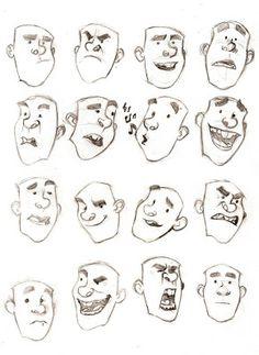 Rabisqueira: Expressões faciais de personagem cartum