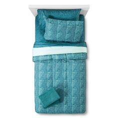 Bedding Set With Towels Printed Lines Teal