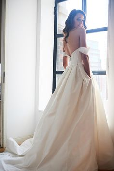 """Yes"" a million times to this dress! This silk mikado ball gown is our idea of romantic bridal perfection. NOVA wedding dress by Kelly Faetanini // Silk Mikado piped bodice ball gown with off-the-shoulder neckline and pleated skirt. #KellyFaetanini #weddingdress #weddinggown #sponsored #wedding #bridal #weddingdresses #ballgown #romantic"