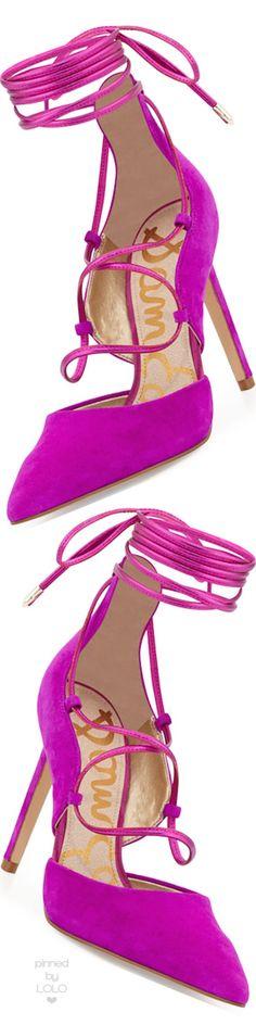 Rosamaria g Frangini | ShoeAddict | Sam Edelman Dayna Suede Lace-Up Pump, Fuchsia | via Lolo
