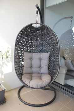island bay resin wicker kambree rib hanging egg chair with cushion and stand wicker hanging chairs at hayneedle apartment ideas pinterest hanging