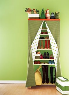 put an unused corner to work; even plain wooden shelves hidden behind coordinated fabric panels allow you to tailor storage to your needs. Kid Closet, Closet Space, Closet Ideas, Shoe Closet, Shoe Storage, Storage Spaces, Purse Storage, Storage Ideas, Ideas Prácticas