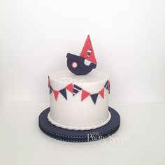 Nautical boat navy red white bunting first birthday cake Nautical Cake, Nautical Theme, Red Birthday Cakes, Birthday Parties, Luxury Cake, Sugar Cake, How To Make Cookies, Cute Cakes, Celebration Cakes