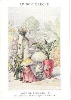 1 victorian trade card anthropomorphic veggie people metamorphic vegetable nr3 #AuBonMarch