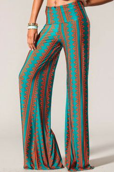 Rust & Teal Vertical Print Wide Leg Pants