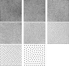 Nine discrete stipple levels with a maximum stipple count of 1000, differing by 125 stipples. The radii of the centre stipple level has been calibrated to represent a 50% gray.