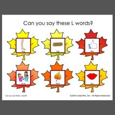 Print two copies to play fall-themed memory matching while working on L words.