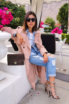 trench coat with distressed jeans