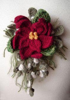 deep red poinsettia mistletoe corsage