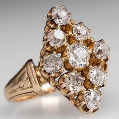 Antique Victorian 18K Gold Diamond Ring | 1880's