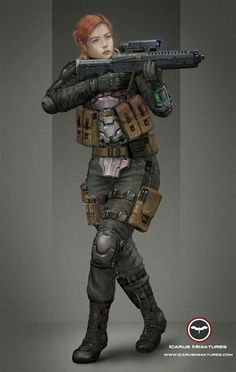 In a modern/scifi setting, Heulwen is a soldier or a high-ranking agent of some kind. Her body armor is modern and practical.