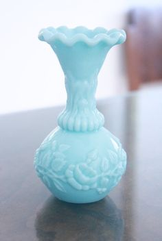 Blue Milk Glass Vase French Portieux Vallerysthal by MADAMEBURDA