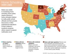 States vary widely in monitoring home schooling. Some states require parents of home-schooled children to notify public school officials and then prov