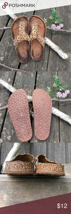 Avon Beaded Hippie Boho Thong Sandals Gently worn.  Clean.  Size 7.5-8  Beading is intact. Avon Shoes Sandals