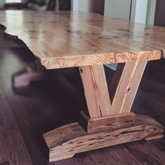 This handcrafted live edge pine table is a one of Wood Slab Table, Pine Table, Wooden Tables, Farmhouse Table Plans, Farmhouse Decor, Dinning Room Tables, Live Edge Table, Rustic Furniture, Furniture Storage