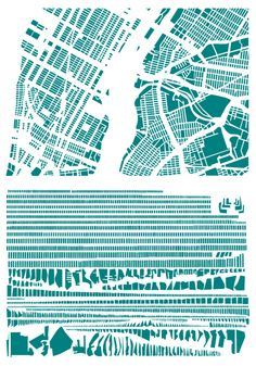 """vobios: """"French artist Armelle Caron takes maps of cities and reorganizes the individual blocks into ordered rows. The process transforms a chaotic city into a unrecognizable, but systematic assemblage of shapes. I'll be honest, the sizes of the images below don't do the designs justice."""""""