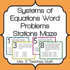 Systems of Equations Word Problems Stations Maze Activity