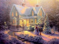 One of Thomas Kinkade's Christmas paintings