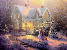 One of Thomas Kinkade's Christmas paintings